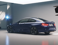 Rendering BMW M4 in studio.