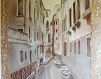 Venice. Mural on the stairwell