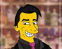 Hector The Bartender - Simpsons Style Illustration