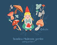 Mushroom garden seamless pattern