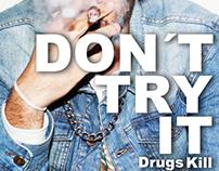 Cartaz contra as drogas na adolescência.