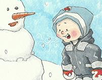 His first snowman.