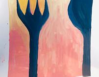 Fork, spoon, vase, and wine bottle