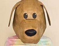 Cardboard Dog Head