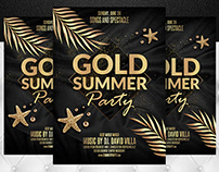 Gold Summer Party Flyer Template