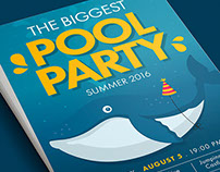 Summer Pool Water Party Illustrated Flyer