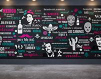 Wall art for Mexican bar ''La antiguita mezcalería''