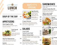 Lunch Menu for Café 1771