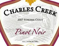 Charles Creek Vineyards label rendered by Steven Noble