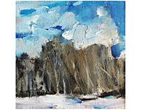 Winter landscapes. Oil sketches