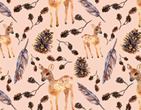 Children Surface pattern design : Automne
