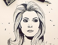 Catherine Deneuve – black ink