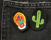 Handmade embroidery monkey and cactus