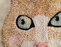 Cat embroider portrait