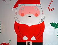 Mural navideño para Banco Santander