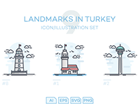 Landmarks in Turkey Icon/Illustration Set