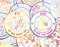 Kpop badge illustrations