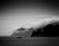 Sea, clouds and fog