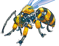 Robot Wasp Vector Illustration