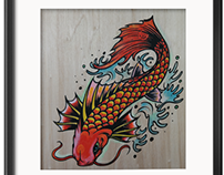 KOI - handcut stencil/hand embellished on wood 2015