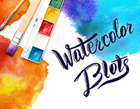 Hand painted vector watercolor blots pack