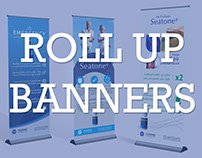 4 Roll up banners for pharmaceutical products
