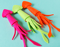 3D Felt Squid Brooches