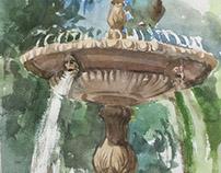 """Fountain"" paper watercolor 20x30"