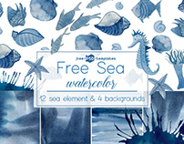 FREE SEA WATERCOLOR SET IN PSD