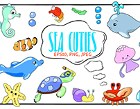 Cute Sea Animals Handdrawn Vector Illustrations