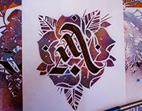 calligraphy + stencil