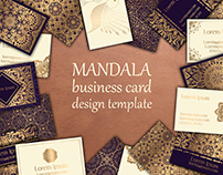 Luxury business cards with floral mandala ornament.