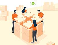 Фирменные иллюстраций для Denka logistics