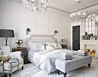 Classic Bedroom Design. Only White. 3DRenderings.