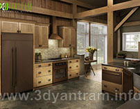 Best Modern 3D Wooden Kitchen Design View