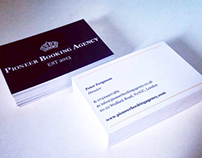 Pioneer Booking Agency logo and business cards