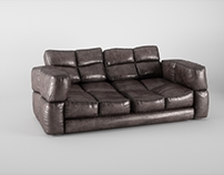 Abused leather sofa
