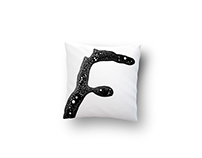 Pillows with graphics symbols