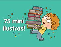 75 ilustrações para marca páginas