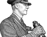 Stipple portrait of admiral Harry DeWolf