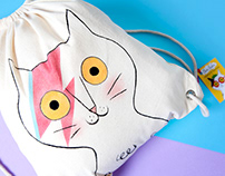Hand painted backpack on sale, ZIGGY THE CAT
