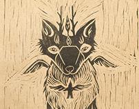 """Linocut """"Shusha - forest spirit"""""""