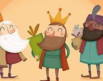 Melchor, Gaspar, Baltasar. Ilustración infantil