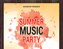 Free Summer Music Party Flyer PSD Template