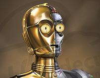 C-3PO Starwars Homenaje Fanart