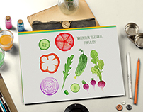 Vegetables collection for salads menu with 4 patterns