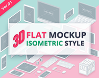3D Flat Mockup Screen - Isometric Style