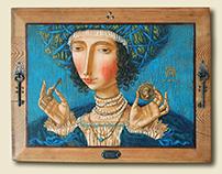 """Lucretia"" tempera on a wooden board, metal"