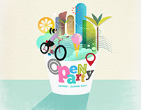 Open Party campaign. Illustration & design