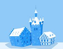 Blue Tower Bad Wimpfen Flat Vector Illustration